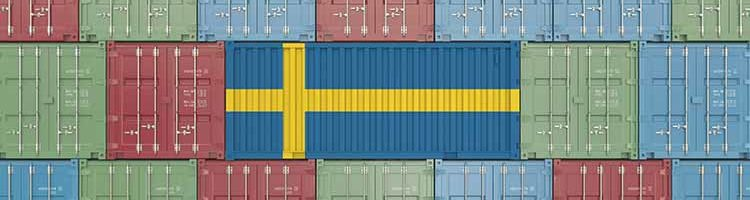 Container with the flag of Sweden on it.