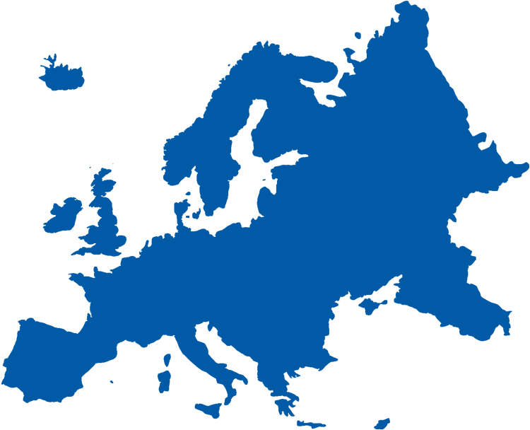 European map in blue