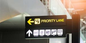 A sign board giving direction to priority lane - Preferences