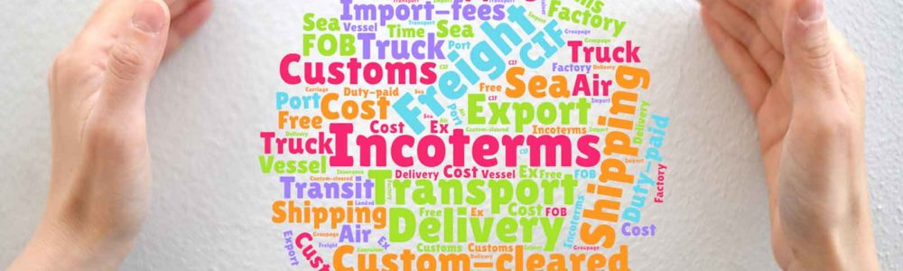 Symbol picture with a word cloud showing the word incoterms