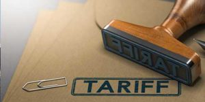 The word 'tariff' stamped on Import Duty Certificate