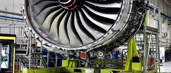 Aircraft engine being loaded